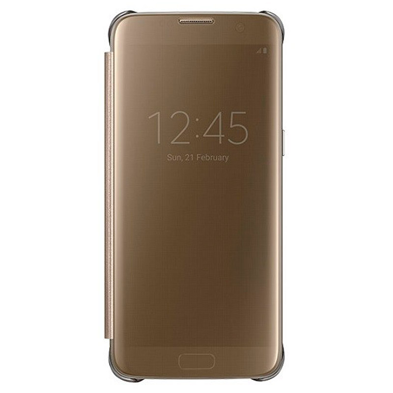 Funda Clear View S7 Edge Oro